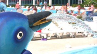 Dolphing fountain in aqua park, defocused — Stock Video