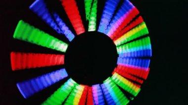 Shone sticks, rotate together sun in dark — Stock Video