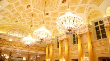 Halls of the Grand Palace are used by Russian museum of folk and applied art — Stock Video
