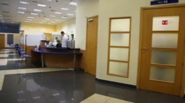 Review of reception premise in bank — Stock Video
