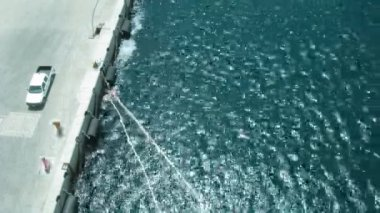 View on a mooring from a ship board on sunny day. Time lapse. — Stock Video