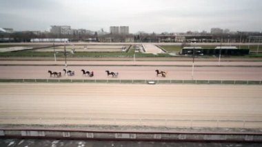 Panorama of hippodrome from bench of spectators on which there are harnessed racers — Stock Video