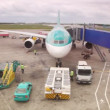 Airplane standing at airstrip is serviced by airport workers — Stock Video #27512723