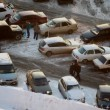 Stock Video: Cars stand on a parking in winter