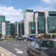 View across road on International Financial Services Centre in Dublin — Stock Video