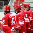 "Fighting at ""Almaz"" net on junior hockey match ""Spartak""-""Almaz"" of MHL — Stock Video"
