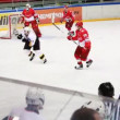 """Spartak"" goalkeeper situation permits on junior hockey match ""Spartak""-""Almaz"" of MHL — Stock Video"