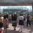 Going out of Convention Centre in Dublin during evacuation training in Dublin, Ireland. — Stock Video #27513543