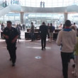 Moves inside Convention Centre in Dublin during evacuation training in Dublin, Ireland. — Stock Video #27513715