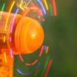 Close-up shot of mini fans with LED light party on grass — Stock video