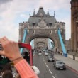 View from double-decker at Tower Bridge in London, UK. — Stock Video