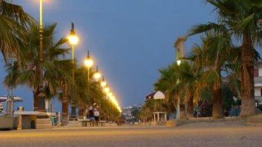 Via venezia con palmeras en la playa en mandatoriccio, italia. — Vídeo de Stock