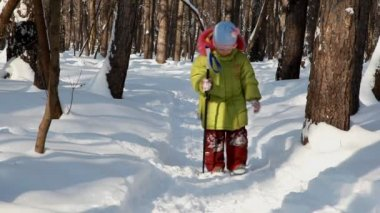Little girl walks with ski stick in winter wood — Stock Video