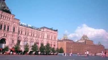 Na placu czerwonym w słoneczny dzień w moscow, federacja rosyjska. — Wideo stockowe