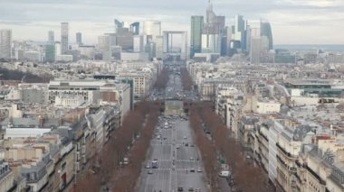 The Champs Elysees and big wheel in Paris, view from Triumphal Arch — Stock Video