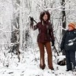 Woman and boy in snow forest — Stock Video