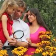 Stock Video: Girl and her parents discovering flower with magnifying glass
