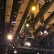 Lighting equipment under ceiling of big television studio — Stock Video