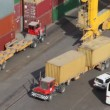 Freight containers in seaport — Stock Video
