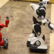 Pair of radiocontrol toy robots moves on floor, Moscow, Russia — Stock Video