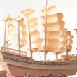 Wooden model of ship rotating — Stock Video #27547055