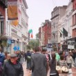 Stock Video: Busy are hurrying on business in Grafton Street in Dublin, Ireland.