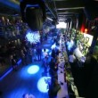 Stock Video: View from about on sitting and relaxing at bar of nightclub