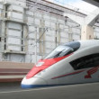 Stock Video: High-speed electric train Sapsan is at platform of train station Moskovskiy in Sankt-Petersburg.