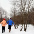 Man and woman run on snow from winter birch forest — Stock Video #27548351