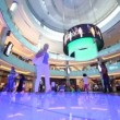 Stock Video: Bottom view on Dubai Mall with visitors inside in Dubai, UAE.