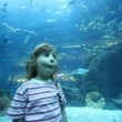 Girl on close shot standing in oceanarium — Stockvideo