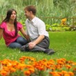 Couple sitting in park amid flowers — Stock Video