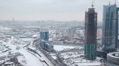 Top view of wintry International Business Center, Moscow — Stock Video