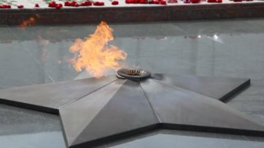Close-up shot of eternal fire on Poklonnaya Hill monument, Moscow, Russia — Stock Video