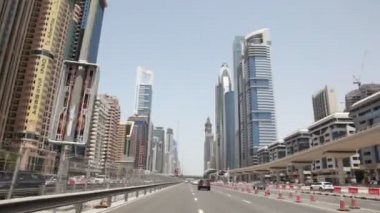 General view on Sheikh zayed road and skyscrapers in Dubai, UAE — Stock Video