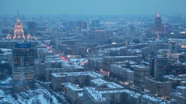 Top view of night wintry Moscow, Russia — Stock Video
