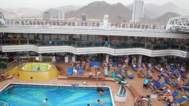 On upper deck on Costa Deliziosa - newest Costa cruise ship in port Fujairah, UAE. — Stock Video