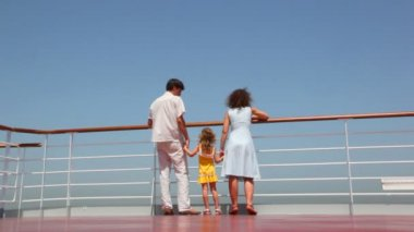 Bottom view on family walks on deck of ship — Vídeo de Stock
