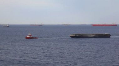 Lot of freighter ships on seaway near moorage — Vídeo Stock