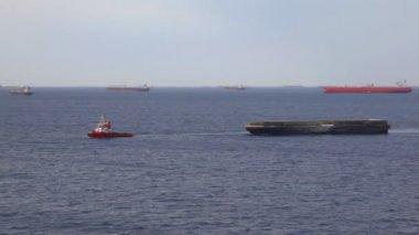 Muitos do cargueiro navios no mar perto de ancoradouro — Vídeo Stock