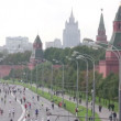 Stock Video: Participants run along quay on XXX MOSCOW INTERNATIONAL PEACE MARATHON