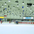 Stock Video: People skate on ice rink European