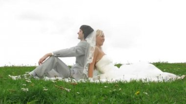Newlywed pair poses for photographer on grass — Stock Video