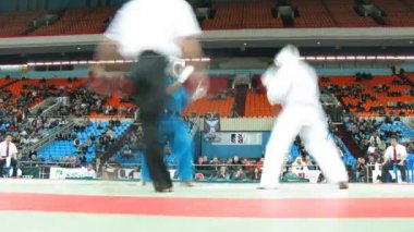 Two sportsmen fight during Kudo World Cup — Stock Video