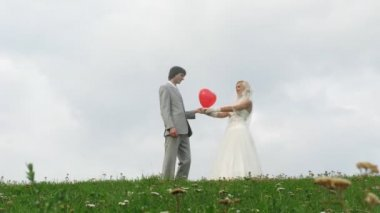 Newlywed pair poses with heart balloon in front of cloudy sky — Stock Video