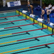 Sportsmen prepare for start of swim — Stock Video