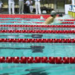 Sportsmen in relay, some finish breaststroke, others start on open championship — Stock Video