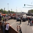 Stock Video: People at parade on Victory Day in Great Patriotic War
