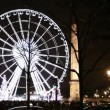 Stock Video: Lighted Ferris wheel, Luxor obelisk and road at Champs Elysees