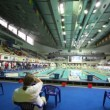 Judges sit, includes sportsmen on open championship of russia's swimming in sports complex — Stock Video #27981359